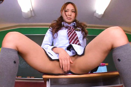 Yukina momota. Yukina Momota Asian in uniform spreads legs on