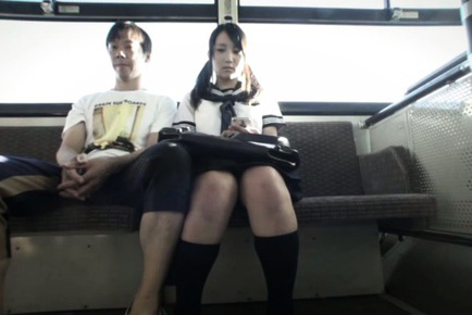 Mao kurata. Mao Kurata Asian in uniform gets stranger nude penish in the bus