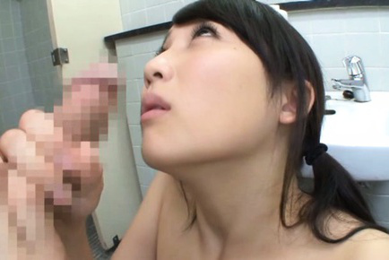 Mao kurata. Mao Kurata Asian is touched on slit over bath suit and blowjob cock