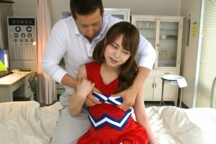 Akiho yoshizawa. Akiho Yoshizawa Asian has cans touched over uniform and exposed
