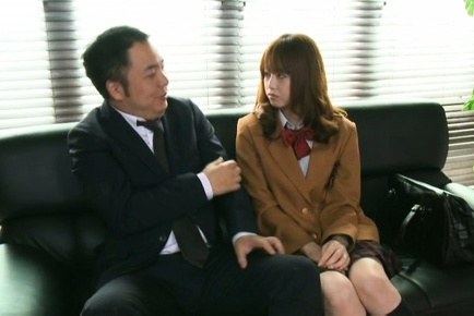 Akiho yoshizawa. Akiho Yoshizawa Asian in uniform undresses and fondles teacher
