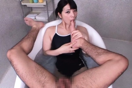 Ai uehara. Ai Uehara Asian licks man toes while stroking his