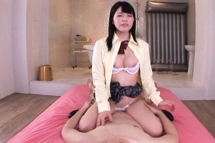 Ai uehara. Ai Uehara Asian with heavy butt rides cock and rubs it of her buttets